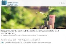Ringvorlesung: Theorien und Themenfelder der Wissenschafts- und Technikforschung
